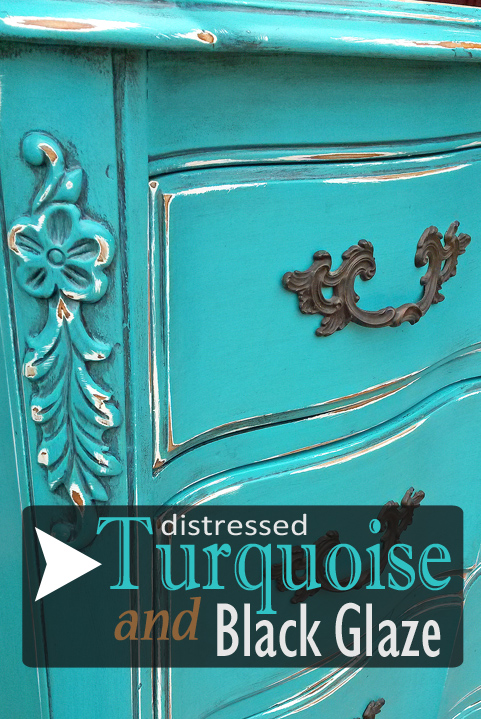 French Chest Of Drawers In Distressed Turquoise U0026 Black Glaze