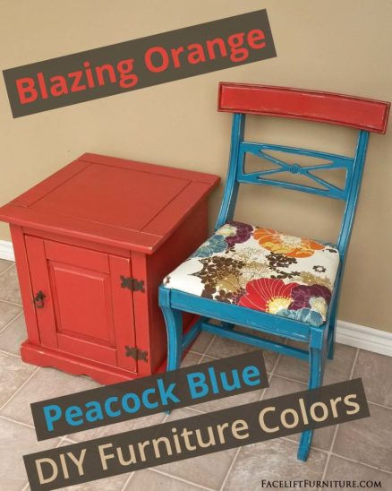 Blazing Orange & Peacock Blue DIY Furniture Colors - from Facelift Furniture