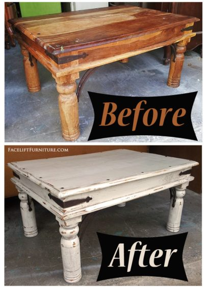 Rustic coffee table given a new look in distressed Off White and Tobacco Glaze - Before and After from Facelift Furniture