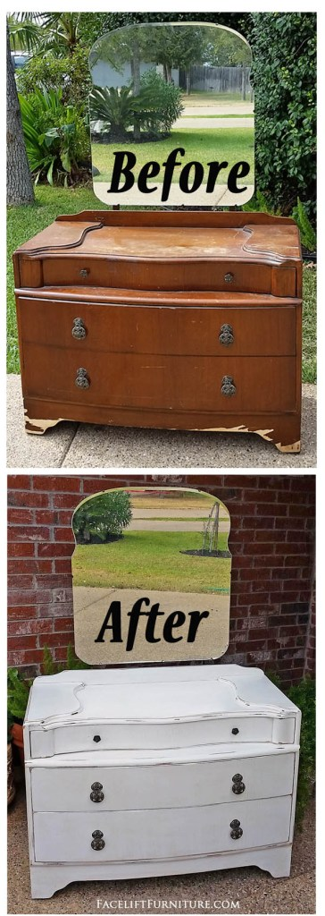 Vanity in Distressed Antiqued White - Before & After from Facelift Furniture
