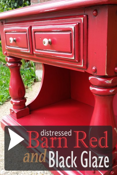 Chunky End Table Transformed in Barn Red & Black Glaze