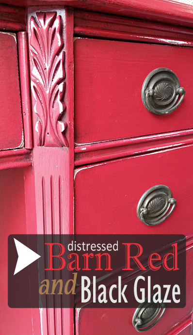 Old desk in distressed Barn Red with Black Glaze - DIY Inspiration from Facelift Furniture