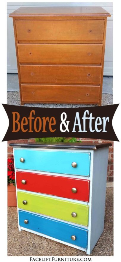 Nightstand repurposed into sewing storage - Before and After from Facelift Furniture