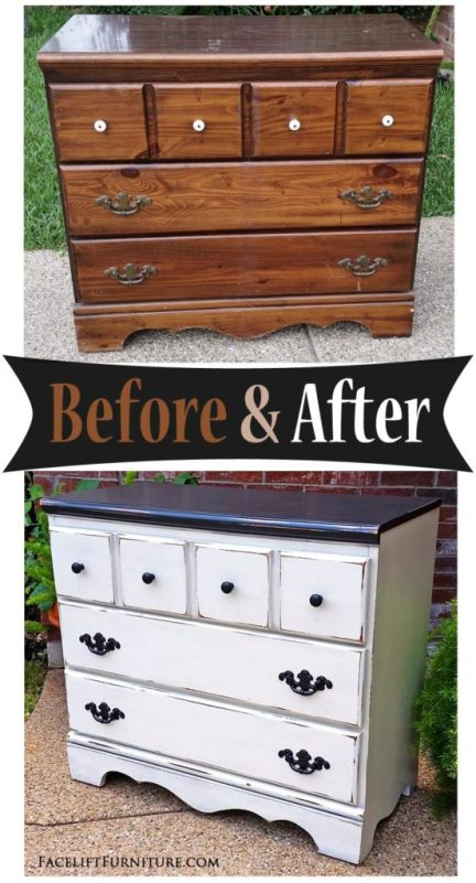 Dresser in distressed Black & Off White - Before & After from Facelift Furniture