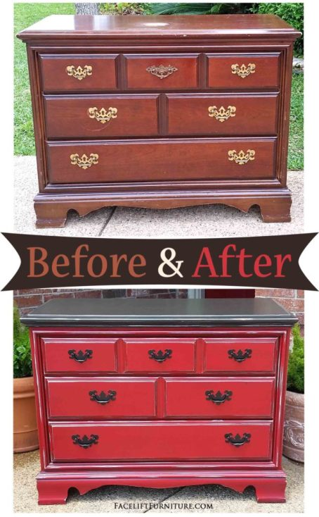 Dresser in Dark Brown and Barn Red - Before and After from Facelift Furniture