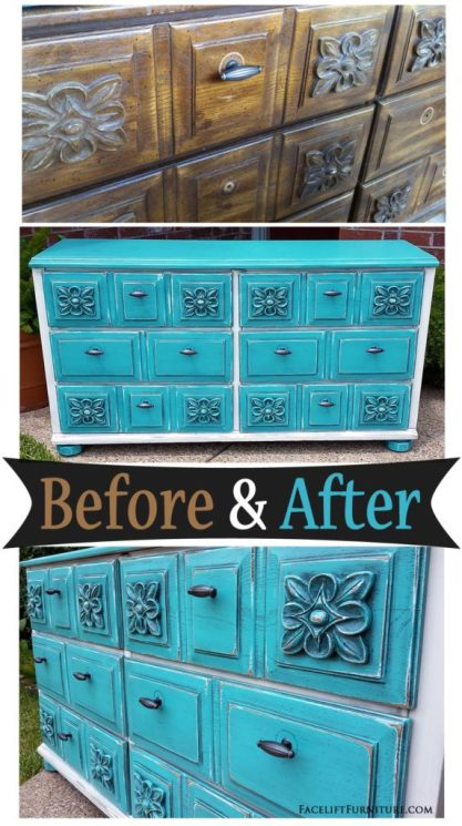 Dresser in distressed Turquoise & Off White - Before and After from Facelift Furniture