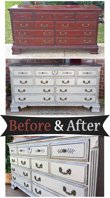 Dresser in distressed Black and Aspen Gray - Before and After from Facelift Furniture