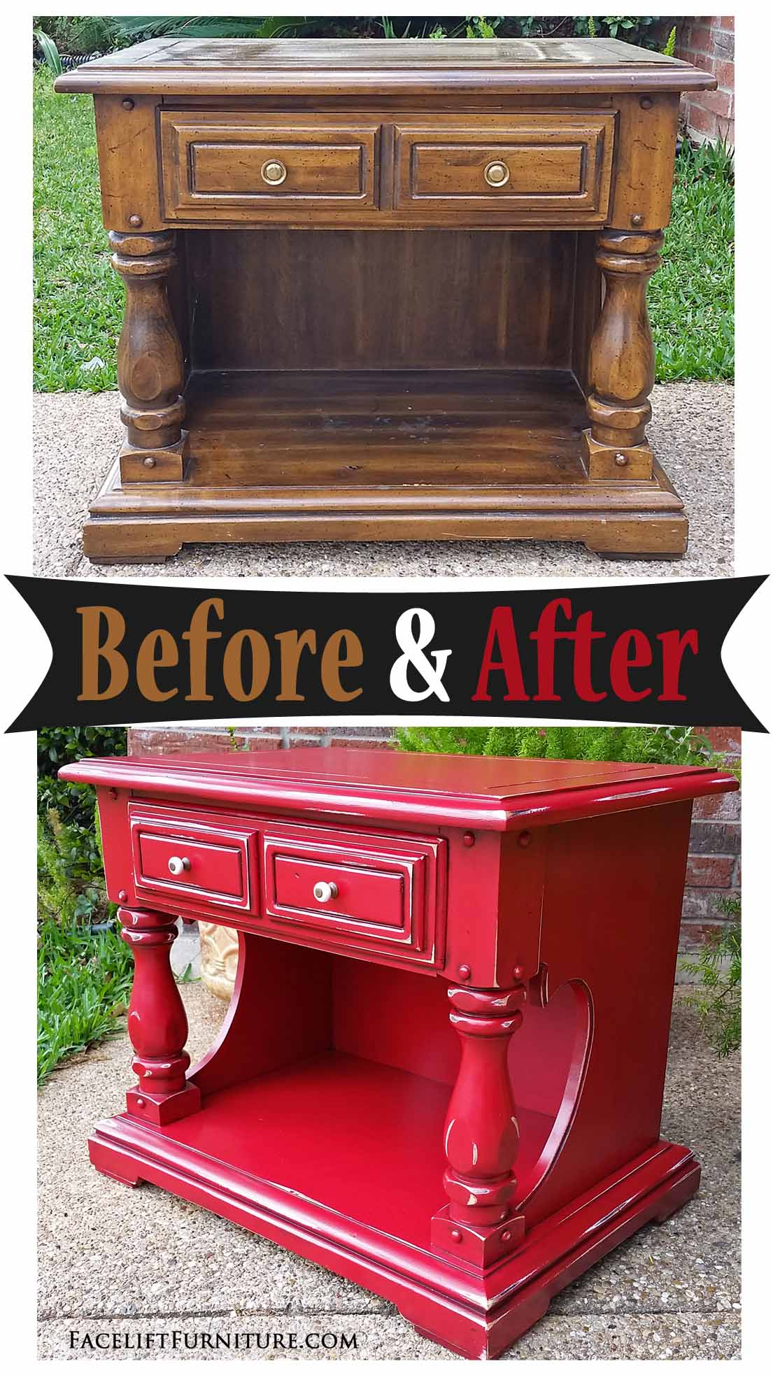 Chunky End Table in Distressed Barn Red – Before & After ...