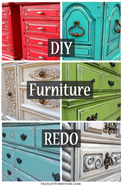 DIY Furniture REDO with paint, glaze & distressing. Ideas & Inspiration from Facelift Furniture!