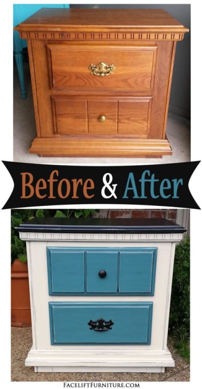 Nightstand given a new life in Black, Sea Blue and Off White - Before and After from Facelift Furniture