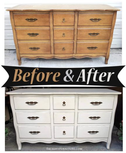 Dresser in distressed Off White with Tobacco Glaze - Before & After from Facelift Furniture