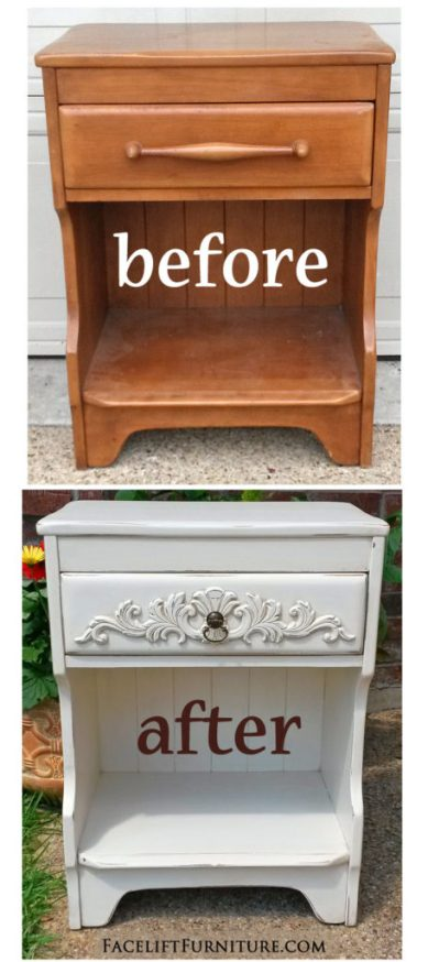 Ornate Maple Nightstand in Distressed Off White - Before & After from Facelift Furniture