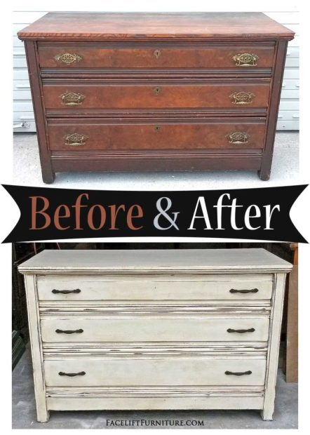 Old dresser with a new look in distressed Off White & Tobacco Glaze - Before & After from Facelift Furniture