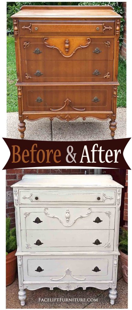 Ornate chest of drawers in distressed Antiqued White - Before & After from Facelift Furniture