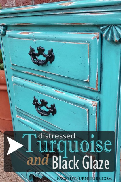 Nightstand in distressed Turquoise & Black Glaze - DIY inspiration from Facelift Furniture