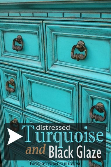 The charms of Turquoise on weary old furniture! Inspiration from Facelift Furniture