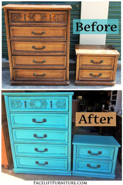 Vintage Chest & Nightstand in distressed Turquoise & Black Glaze - Before & After from Facelift Furniture!