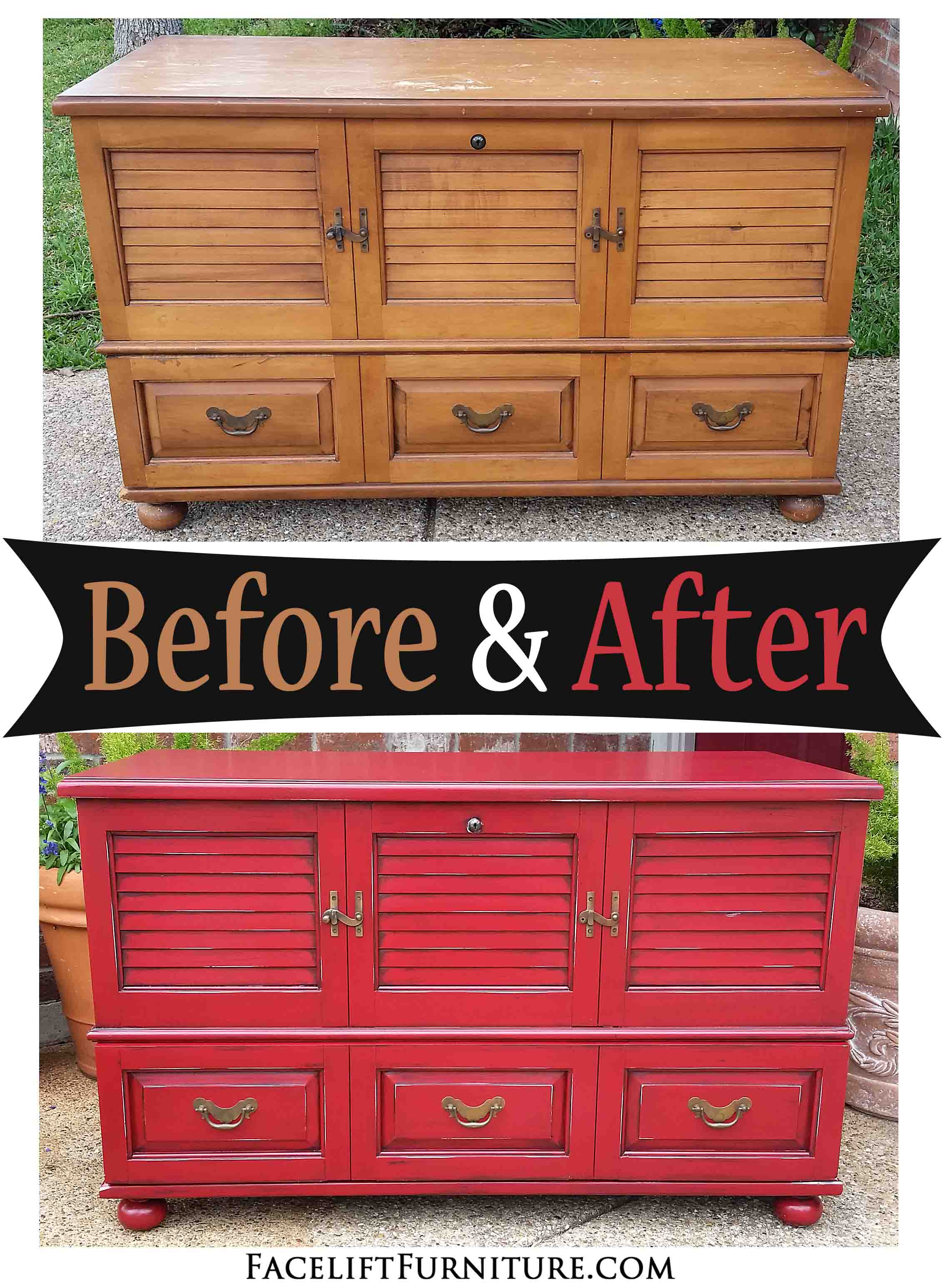 this old maple cedar chest was given a new look with paint glaze and distressing