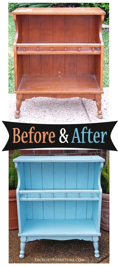 Maple shelf given a new life in Robin's Egg Blue and Black Glaze. Before and After from Facelift Furniture!