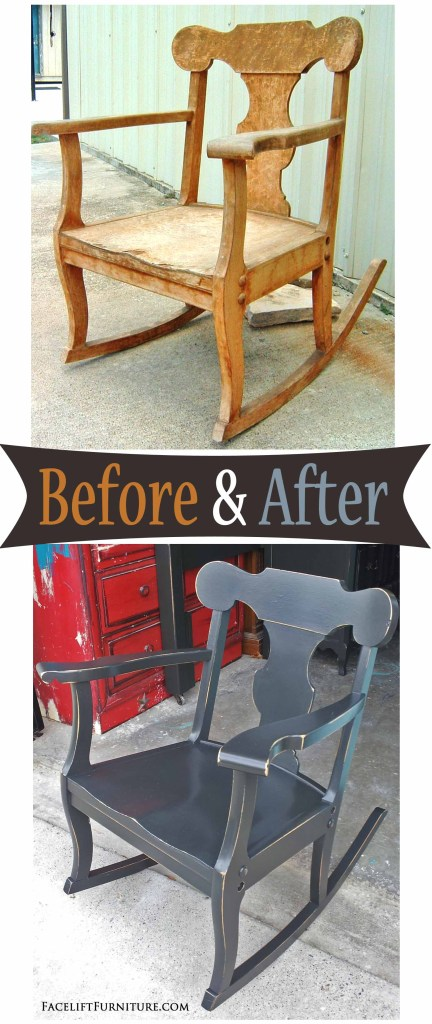 Rocker in Distressed Black - Before & After from Facelift Furniture