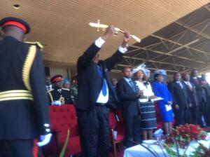 President Mutharika hold a Presidential sword