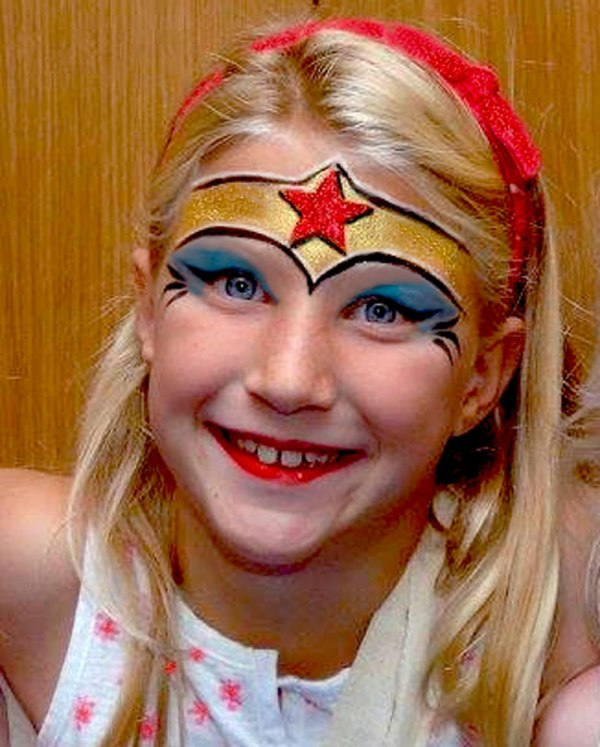 Wonder Woman Face Painting for Girls