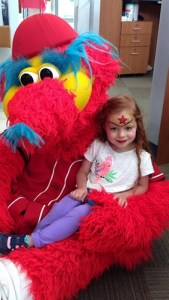 PNC Cincinnati Reds face painting Capper the Reds Mascot