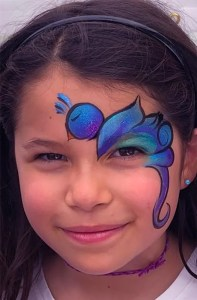 Blue bird face painting Cinco De Mayo Fountain Square 2018
