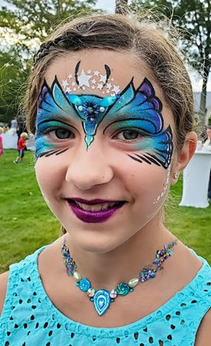 Face painting Cincinnati Ohio private party butterfly jeweled