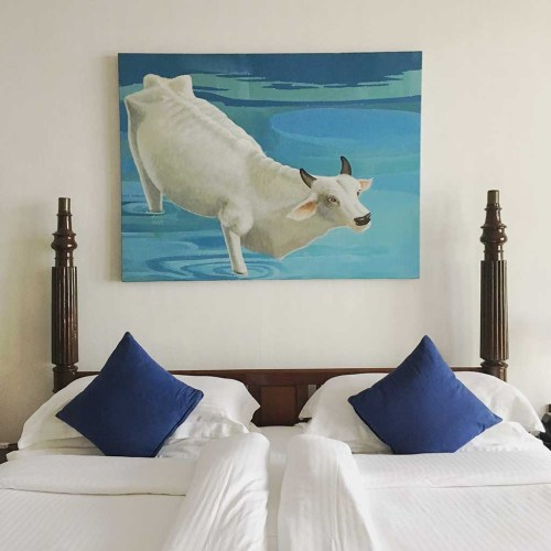 Kochi, Cochin, cow artwork, hotel beds, Culinary Tours, Faces Places and Plates Blog