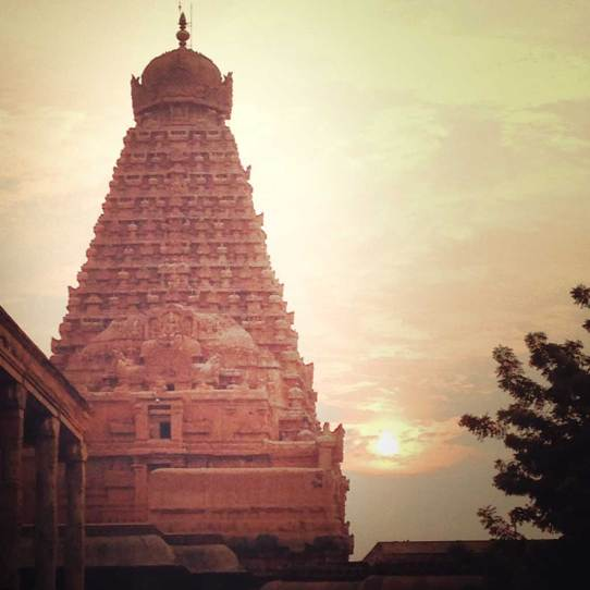 Brihadisvara Temple, Thanjavur, at dusk.