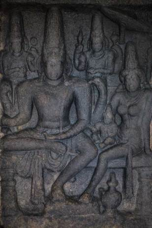 Detail of stone carvings from the Shore Temple, Mamallapurum