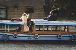 Nuns travel along the Keralan backwaters.