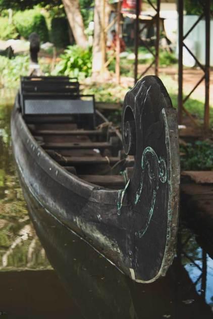 Green Palms Homestay family canoe, Kerala Backwaters.