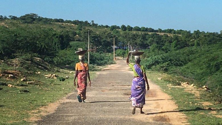 The road to a shiva temple near Thirumayam on the Karaikudi to Pudukkottai highway.