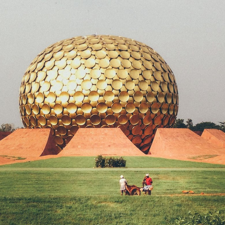 The large golden orb of the Matrimandir in Auroville.