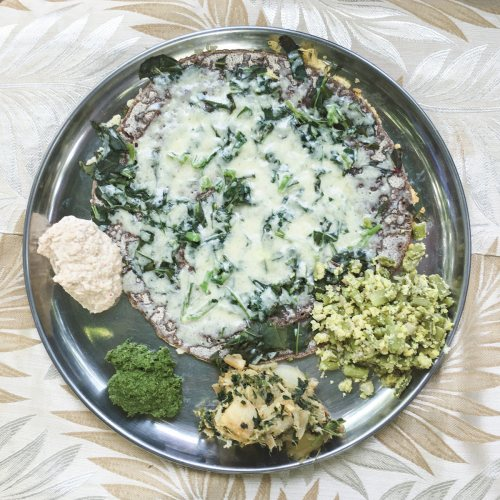 Ragi Dosa with Spinach and Cheese at Solitude Farm in Auroville - City of Dawn