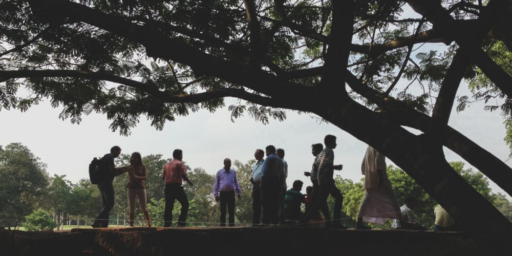 Onlookers at the Matrimandir in Auroville - City of Dawn
