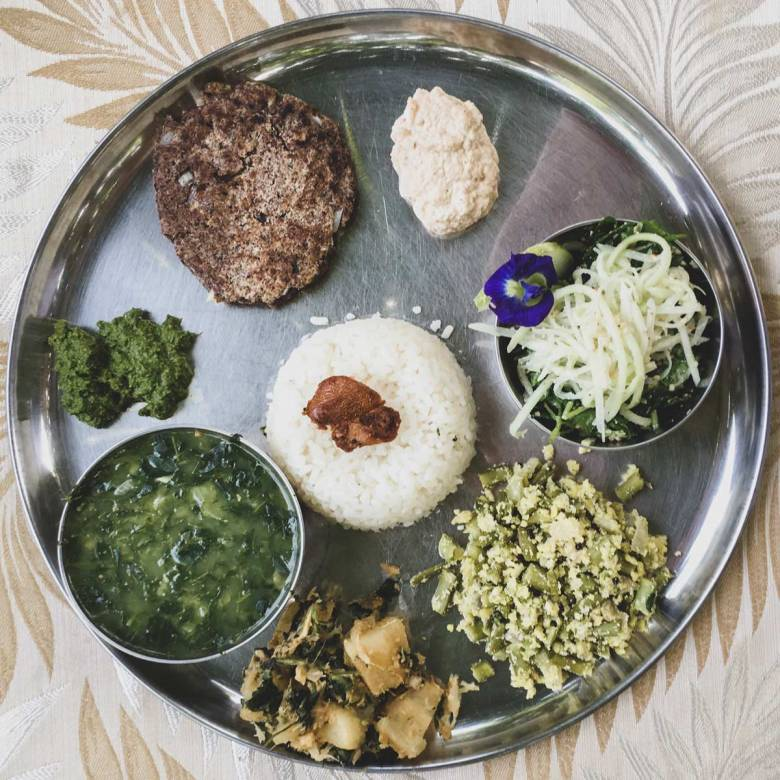Thali lunch at Solitude Farm with Cassava and Spinach Subzi