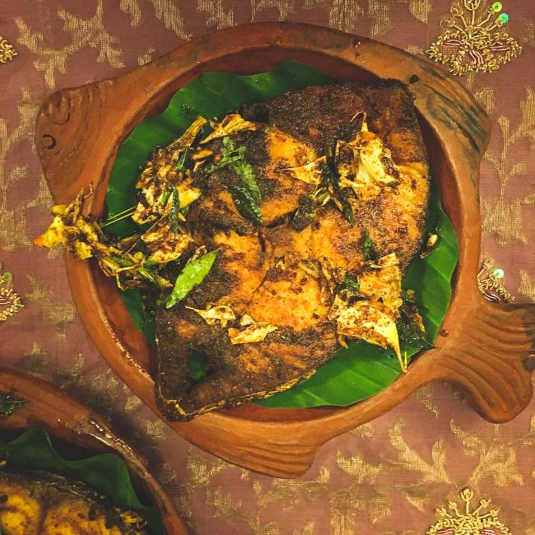 Kerala-Fish-Fry Malabar Style on a clay dish