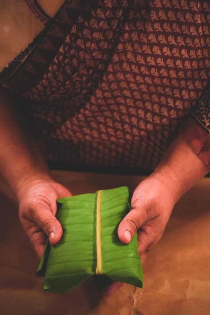 Moplah-Shrimp-Biryani in a banana leaf