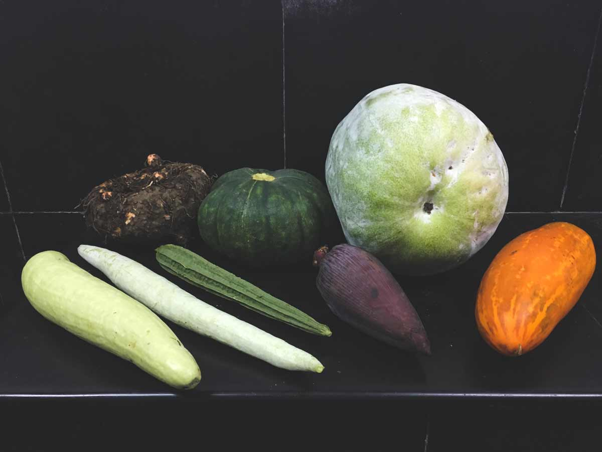 a variety of gourds