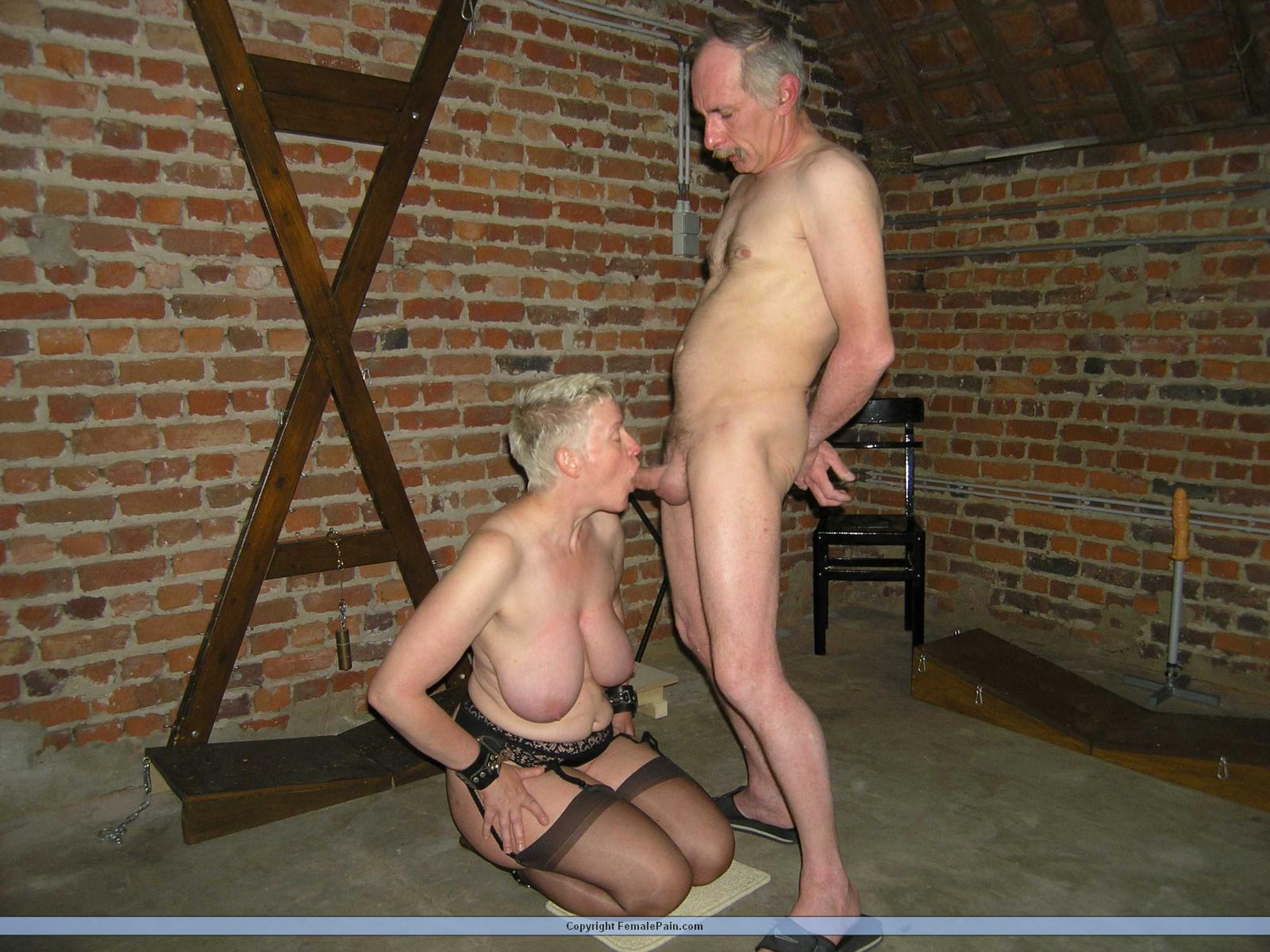 slave sucking husbands cock