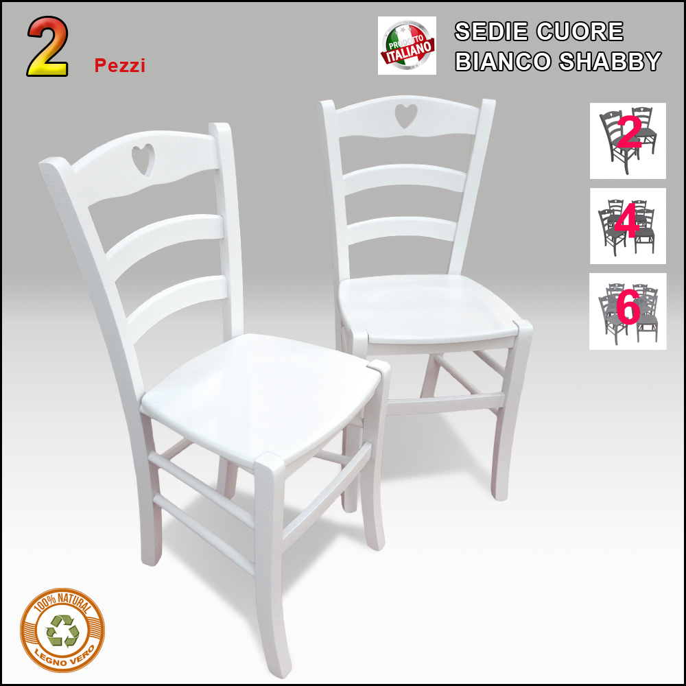 SEDIE COUNTRY  2 Sedie in legno bianche Stile Shabby