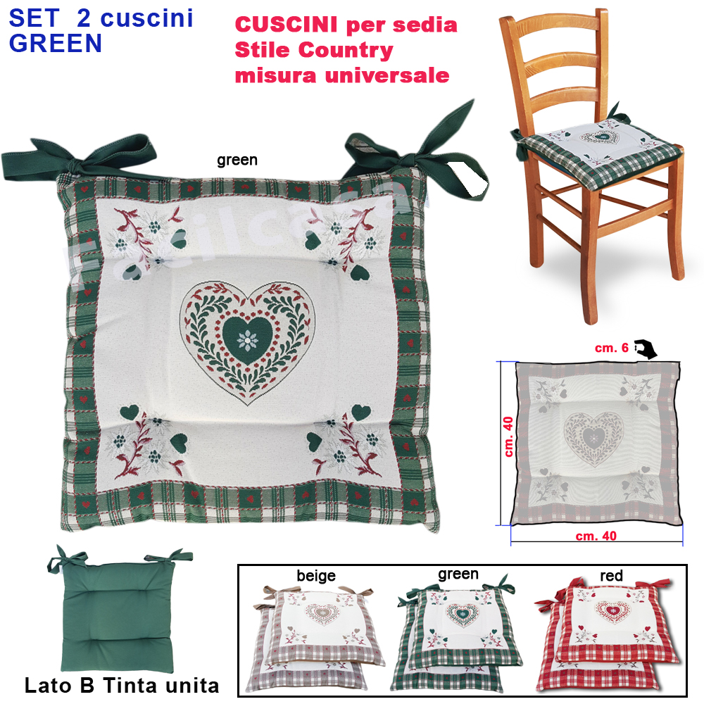 Cuscini cucina.pin di roberta misiti su casa nel 2020 cuscini per sedie da. Cuscini Per Sedie Verde 2 Cuscino Per Sedia Coprisedia Imbottito Cuscino Modello Shabby Cuori Tirolese Rustico Facilcasa