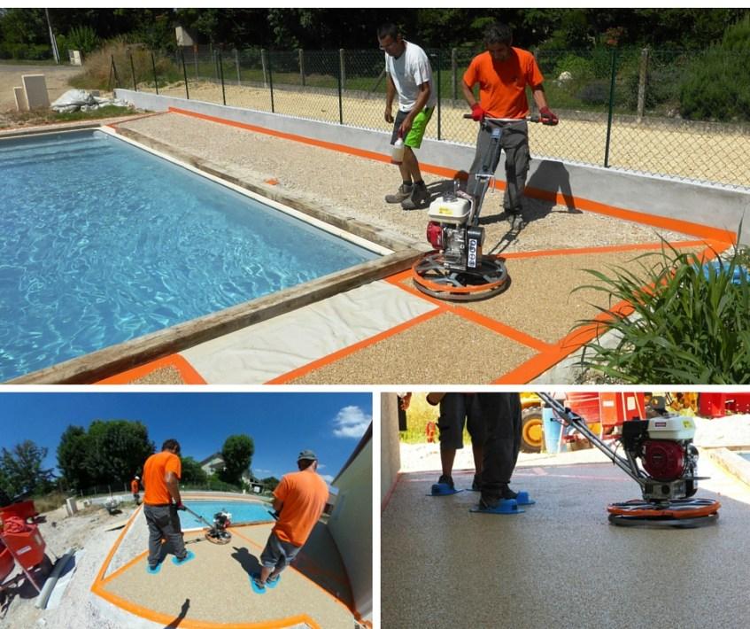 Terrasse plage de piscine Hydroway Isère Drome - revêtement de sol extérieur drainant et perméable 3