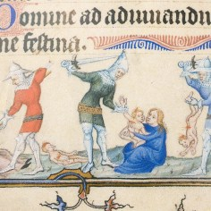 Miniature in the bás de page from the Très Belles Heures
