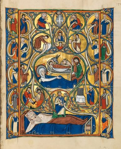 Nativity scene from the Golden Munich Psalter