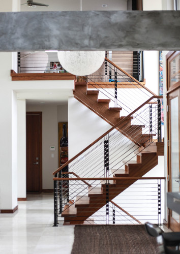 Custom Residential Wood And Steel Railing And Staircases