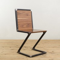 Walnut and Raw Steel Z-Chair - Factor Fabrication